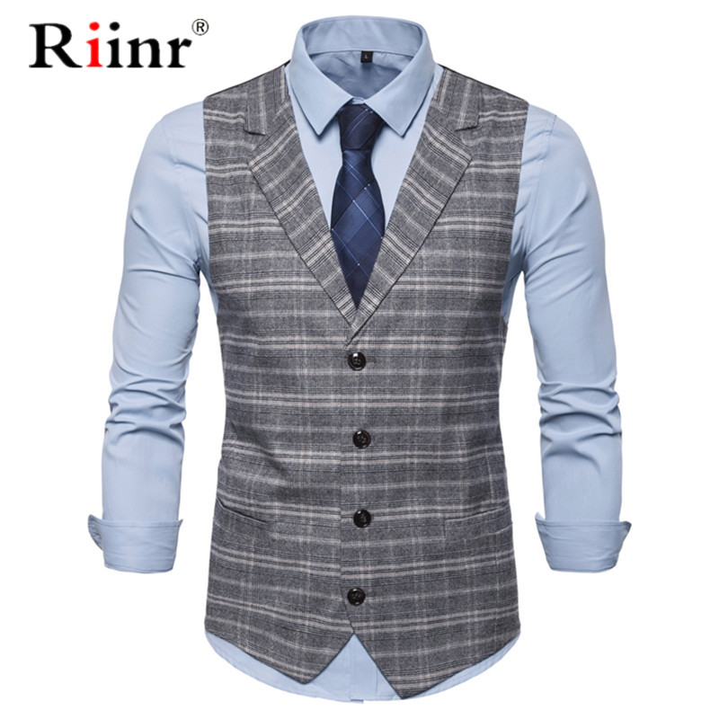 Spring Autumn Man Fashion Suit Vest Male Plaid Suit Waistcoat Formal Business Wedding Slim Dress Vests Men Work Waistcoat 2XL