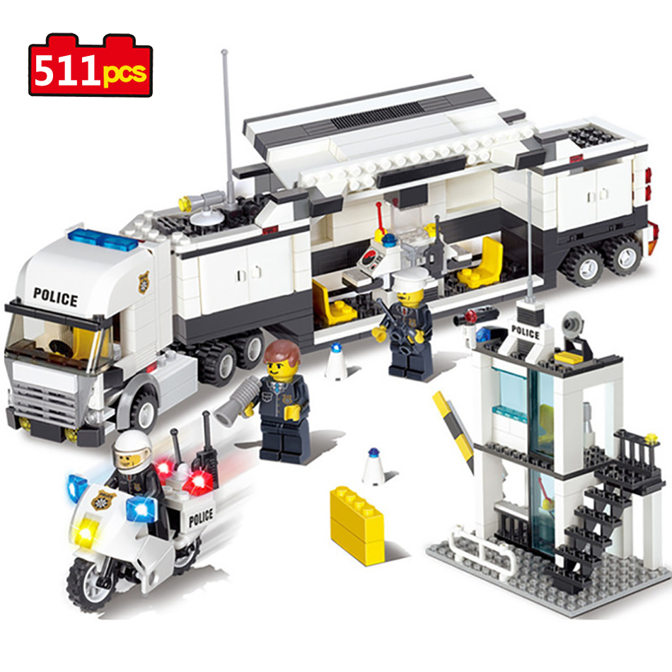 511pcs Police Station Building Blocks Toys Compatible Legos Friends  Technic City Enlighten Bricks Toys Birthday Gifts For Kids kazi 6726 police station building blocks helicopter boat model bricks toys compatible famous brand brinquedos birthday gift