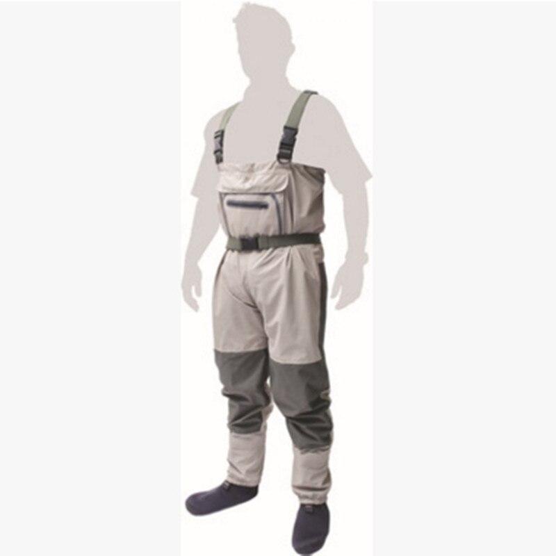 Salopette homme extérieur bretelles de pêche pantalon siamois pantalon imperméable tissu respirant bas pied wader bottes de pêche