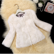 2016 Autumn winter new slim short real rabbit fur coat outerwear women O neck 3/4 sleeve natural fur jacket plus size S – 6XL