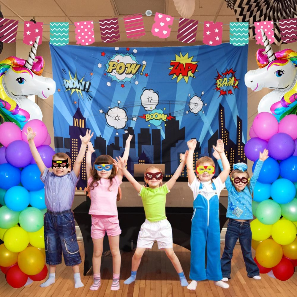 Image 5 - OurWarm Superhero Party Photography Backdrop Birthday Party Wall background With Mask Gifts For Kids Birthday Party Decoration-in Party Backdrops from Home & Garden