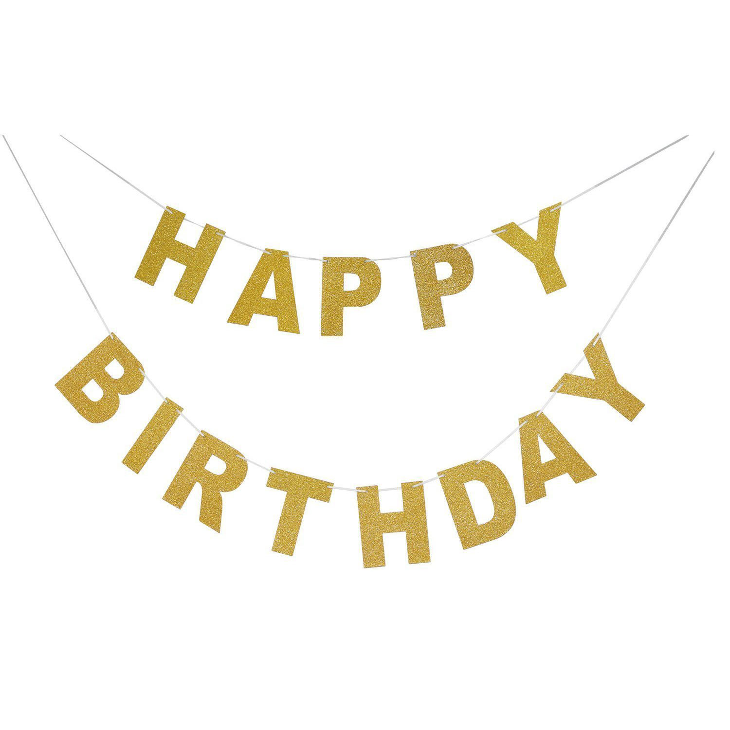 sparkly glitter happy birthday banner