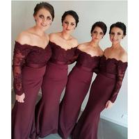 Бордовые платья подружки невесты с длинными рукавами 2019, платье русалки для свадебной вечеринки vestido madrinha