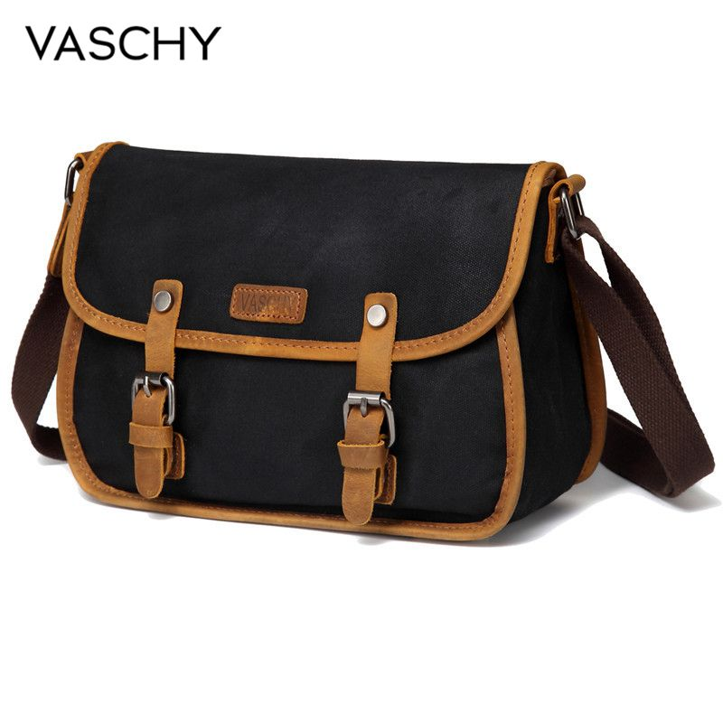 VASCHY Crossbody Bag for Women Vintage Messenger Bag Ladies Leather Waxed Canvas Shoulder Bag Flap Retro Bags for Women 2019VASCHY Crossbody Bag for Women Vintage Messenger Bag Ladies Leather Waxed Canvas Shoulder Bag Flap Retro Bags for Women 2019