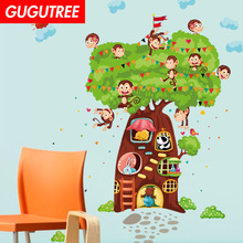 Decorate trees monkey leaf art wall sticker decoration Decals mural painting Removable Decor Wallpaper LF-1820