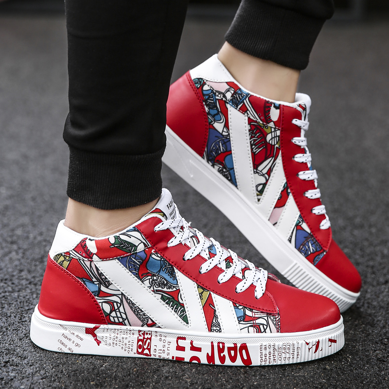 Image 4 - Graffiti Canvas Men Casual Shoes Breathable Male Shoes Tenis Masculino Adulto Shoes Outdoor Shoes Lovers Sneakers Men Unisex 45Mens Casual Shoes   -