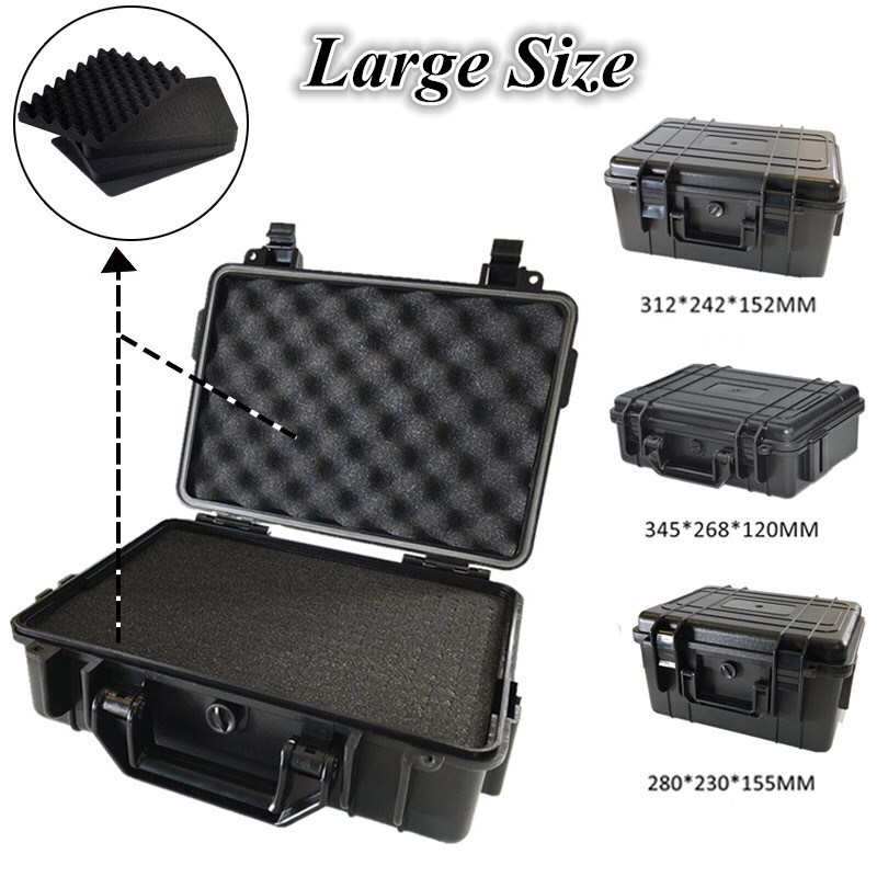 Waterproof ABS Hard Case Impact Resistant Shockproof Sealed Tool Box with Foam Airtight Suitcase Dry Boxes