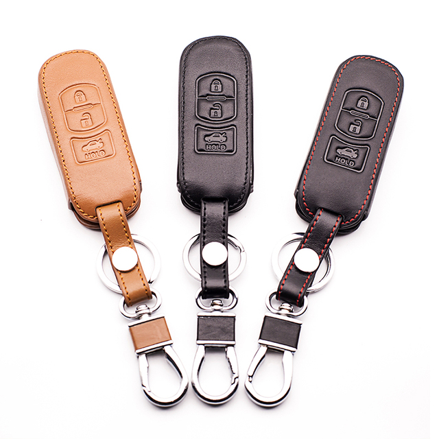 For car key cover For Mazda 3 2 Mazda 6 Axela CX-5 CX5 CX-7 CX7 CX-9 RX8 3 Key Cover Box Leather Car Smart Key Cover Key cases