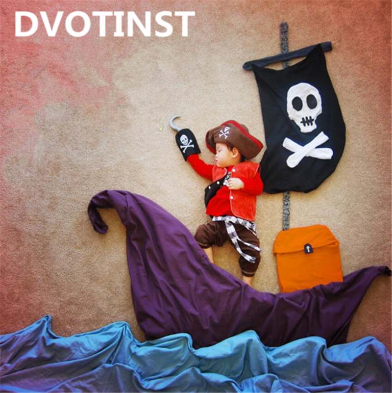 Dvotinst Baby Photography Props Pirate Navigation Theme Background Clothes Set Fotografia Accessory Studio Shooting Photo Prop shengyongbao 300cm 200cm vinyl custom photography backdrops brick wall theme photo studio props photography background brw 12
