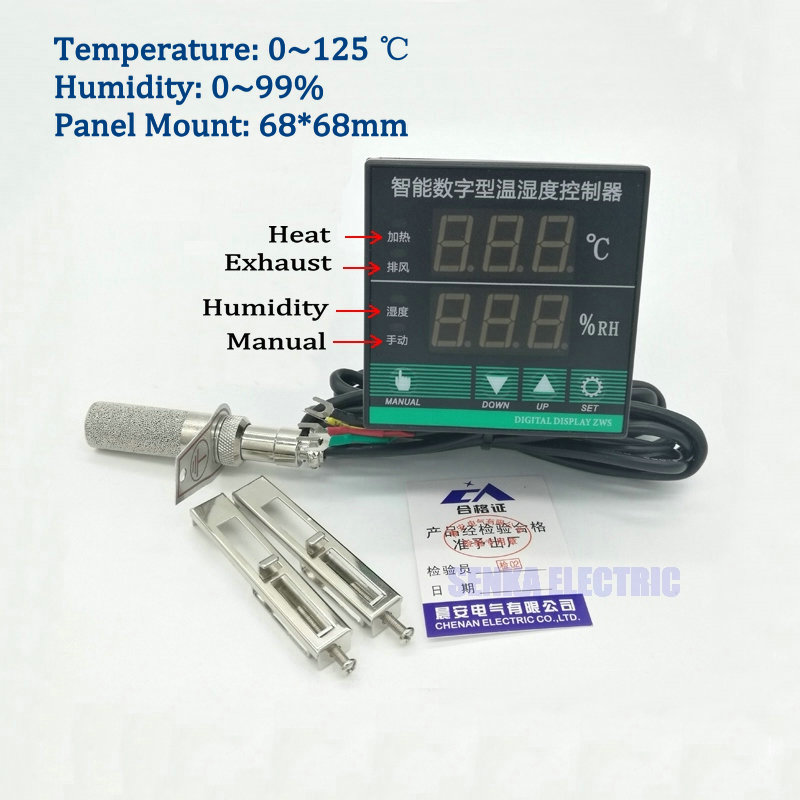 Digital PID Intelligent Oven/Switchgear Temperature and Humidity Controller with Sensor c lin tdk0302 temperature and humidity control with sensor intelligent ac220v