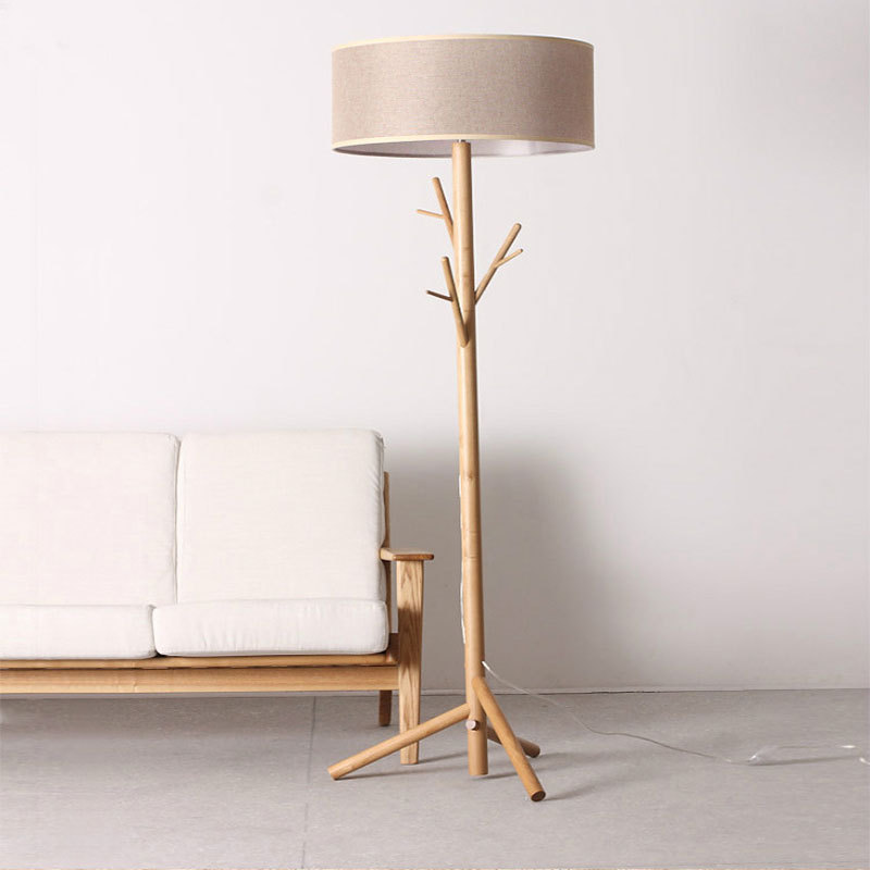 Modern Wood Floor Lamp Tripod Standing Lamp Clothing Shade Lamp For