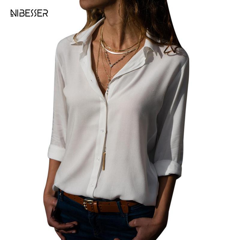 e14509cf528 NIBESSER 2019 женские рубашки блузки с длинным рукавом Дамы Шифоновая Блузка  Топы с отложным воротником одноцветное офисные Стиль сорочка Femmel
