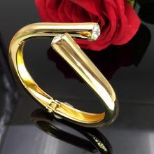 New Fashion Gold color Round Circle Bangle Austrian Crystal Rhinestone Wedding Open Bangle Women Jewelry Gift pulseiras ZK30
