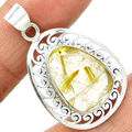Hand made Genuine Golden Rutile Pendant , 100% 925 Sterling Silver, 41mm , 7.2 g,  KP0017