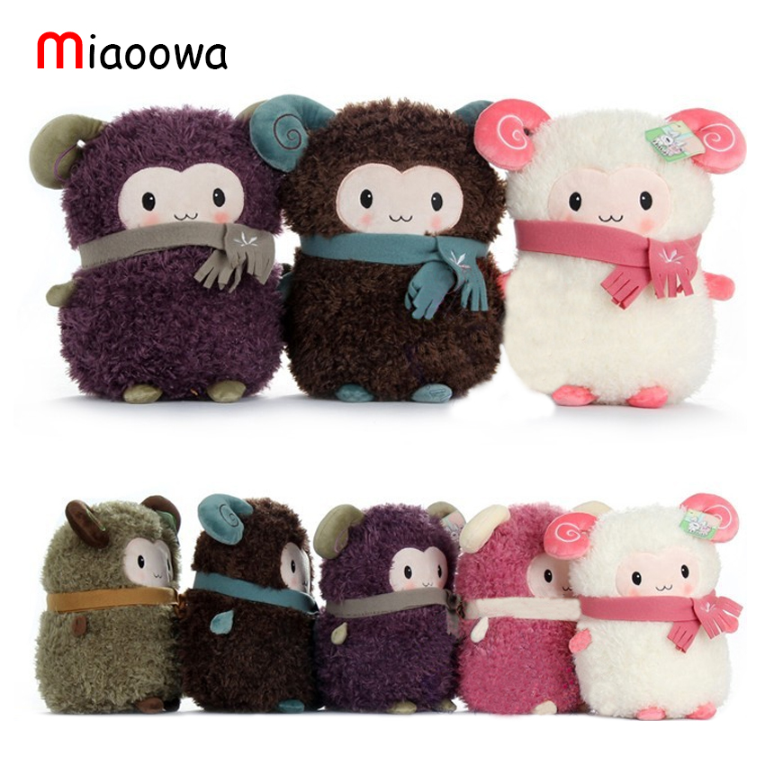 Cute Stuffed Plush Toy Sheep Soft Doll With Scarf Selling Toys For Girl Free Shipping pair of vintage delicate round faux gem drop earrings for women