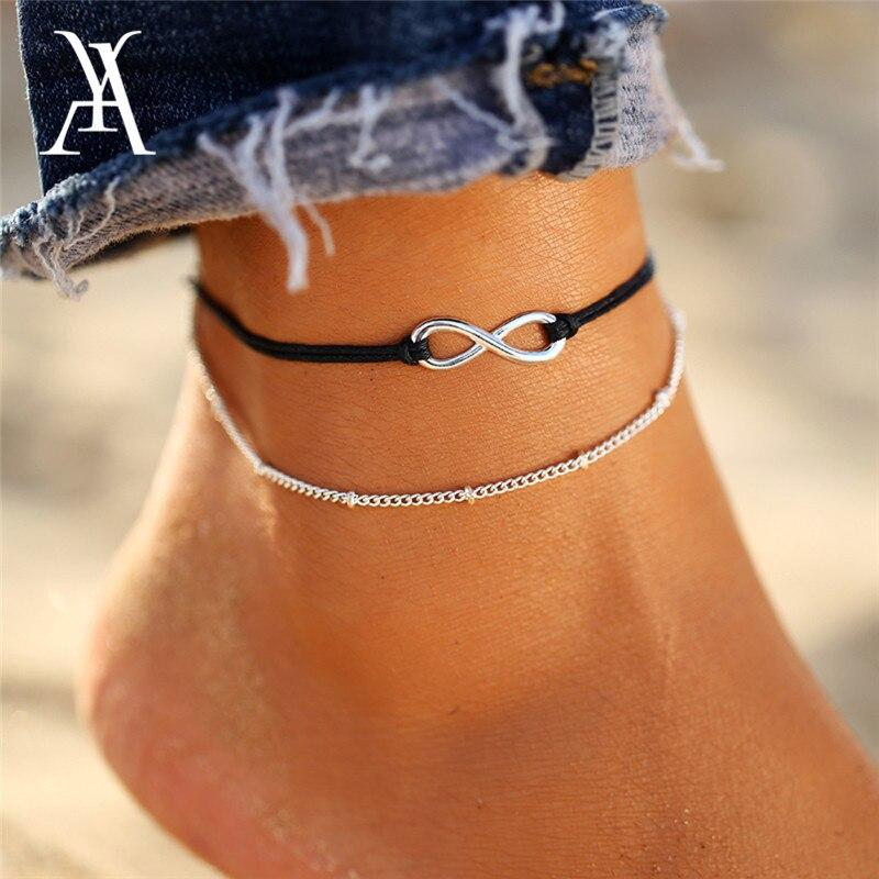 Boho Multi Layers Medallion Infinity Ankle Bracelet Vintage Ocean Beach Anklets for Women Leg Ankle Chain Bracel Foot Jewelry