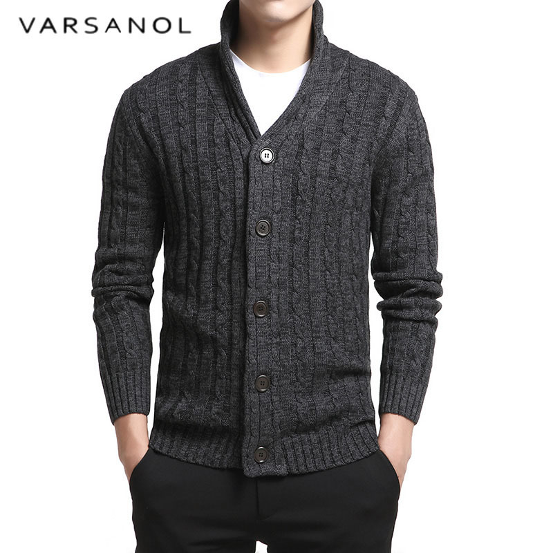 Men`s Casual Cardigan Knitted Sweater Button Down Stand Collar Cotton Warm Soft