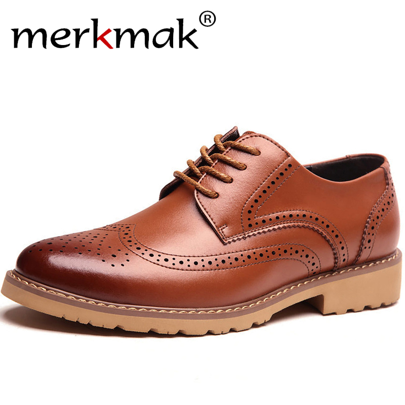 Merkmak 2019 Fashion Brand Men's Business Dress Brogue Shoes For Wedding Party Retro Leather Black Brown Round Toe Oxford Shoes