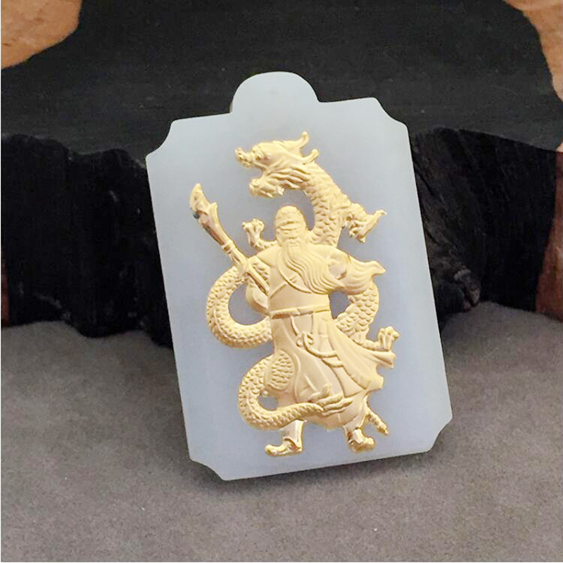 yu xin yuan fine jewelry natural Hetian 24k yellow jade guan gong necklace trendy pendant for Men gifts 15 chinese folk bronze painted seat general guan gong yu warrior god broadsword dsd66