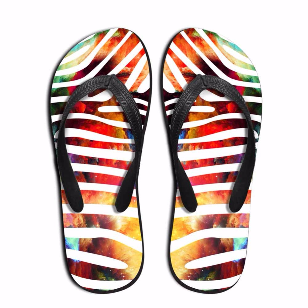 Noisydesigns Multi-color leopard zebra pattern Men custom flip flops - Men's Shoes - Photo 3