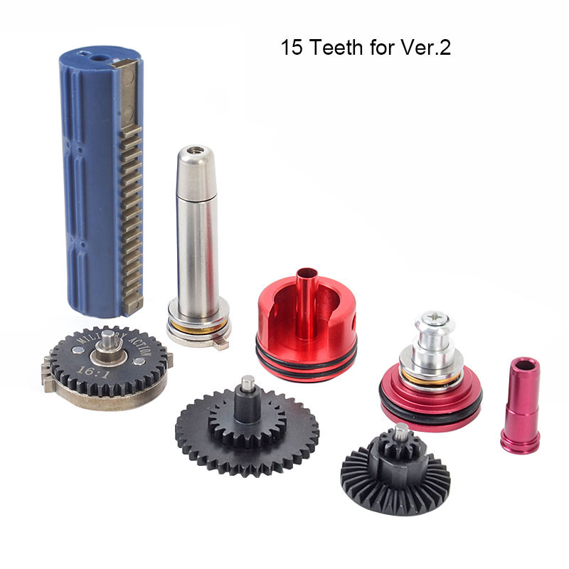 16:1 High Speed Gear 14/15 Teeth Piston Cylinder Piston Head Spring Guide Nozzle Tune Up Set for M4/AK series Airsoft AEG/GBB-in Hunting Gun Accessories from Sports & Entertainment    1