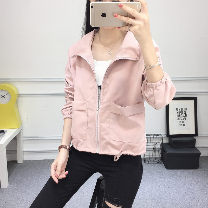 2018 New Spring Autumn Loose Short Thin Jacket Women Long Sleeve Zipper Big Pocket Stude ...