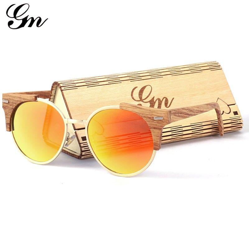 GM 2018 Рамки Очки древесины бамбука Солнцезащитные очки для женщин UV400 личности скейтборд древесины бамбука Металл смешивание.