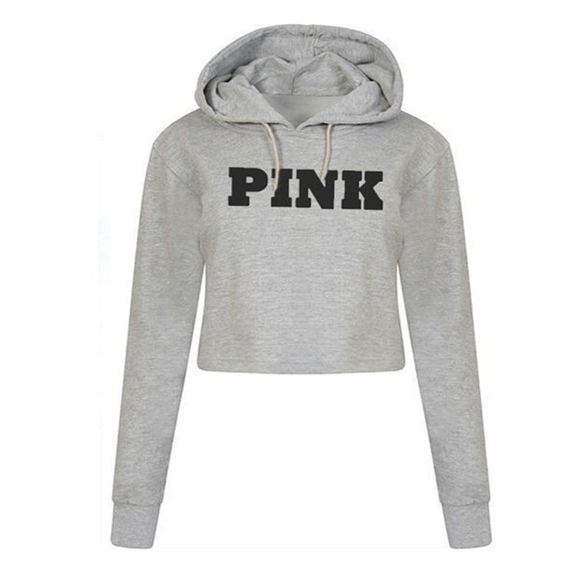 Women Oversized Hoodies Jumper Sweatshirt Female Pink Cropped Top Winter Kawaii Harajuku Letter Loose Pullover 8