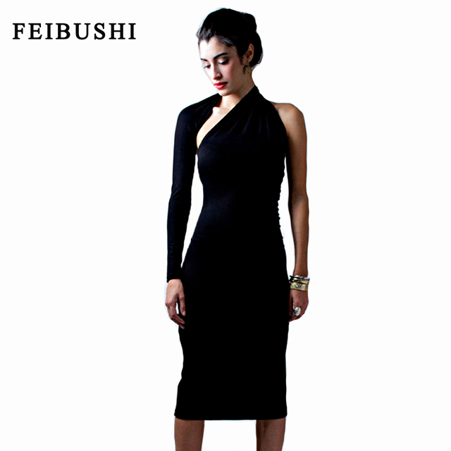 3ea59bf1df0 FEIBUSHI Womens Modal Solid Black Cotton Elegant Sexy One Shoulder Sheath  Long Sleeve Casual Party Bodycon