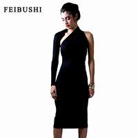Feibushi נשים מודאלי כותנה שחורה מוצקה אלגנטי סקסי כתף אחת נדן מפלגה מקרית שרוול ארוך bodycon עיפרון dress vestidos