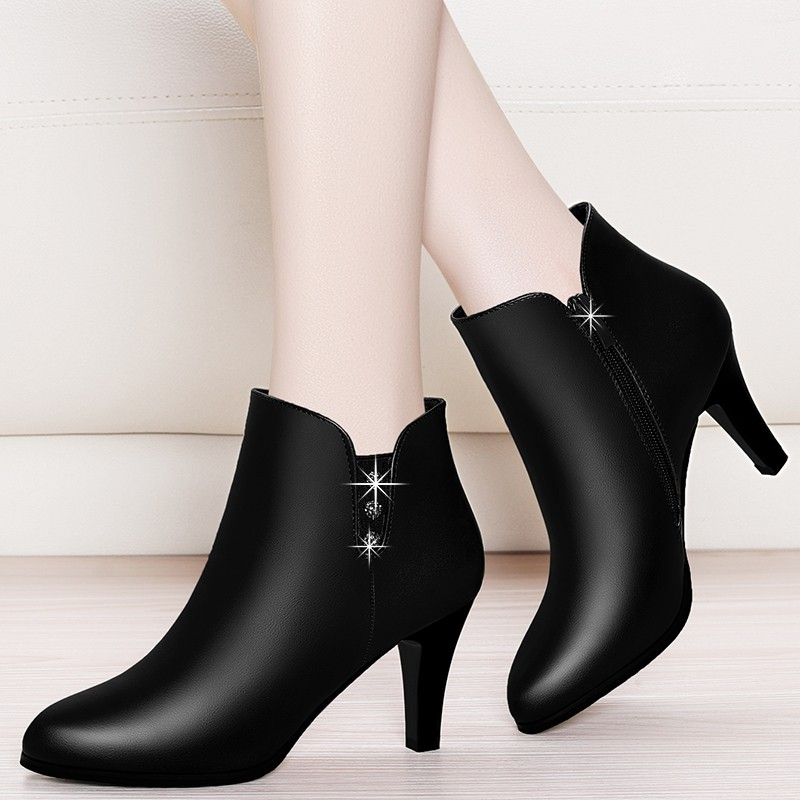 Fashion Crystal Ankle Boot For Women Genuine Leather Party Shoes 2018 New Autumn Winter High Heels Platform Boots Black YG A0000
