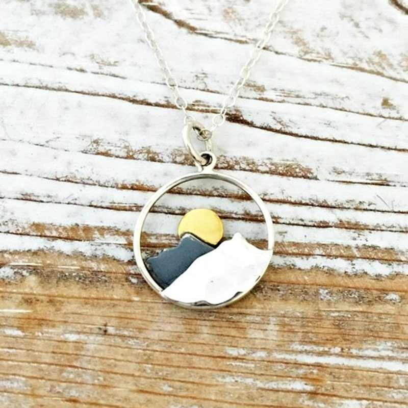 b02ff330b4c29 Mountain Necklace -The Mountains Are Calling and I Must Go - Wanderlust  Jewelry - Womens Mountain Range Necklaces - Gold Moon