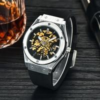 Classic Mechanical Watch Men Automatic Waterproof Silicone Watch Black Men Watch Mechanical Wristwatch