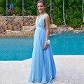 Moda Light Blue A Linha Prom Vestidos Longos Vestidos de Chiffon Com Decote Em V Até O Chão Vestido de Festa Vestido De Festa