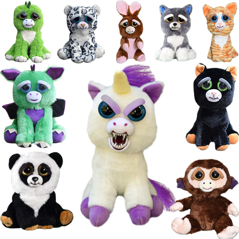 Change Face Feisty Pets Plush Toys With Funny Expression Stuffed Animal Doll For Kids Cute Prank toy Christmas Gift Hot Sale 2017 hot sale plush soft toys doll stuffed animal toy plush green frog dolls with sucker for baby kids pillow christmas gift