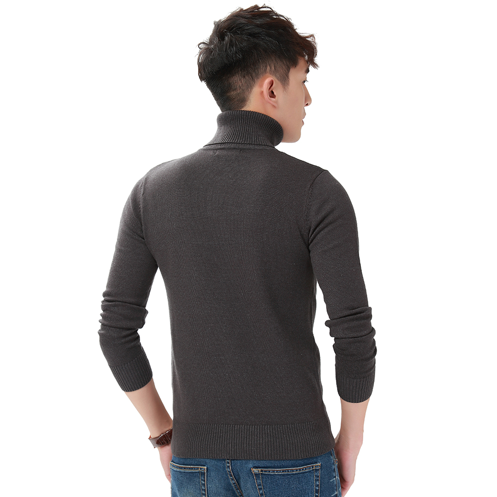 Harajuku Men Solid Color Turtleneck Loose Brief Thermal Thickening Retro Sweater Male Handsome Knitted Jumper And Pullover (9)
