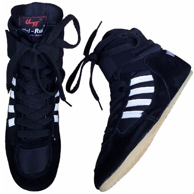 ALDOMOUR En Cuir Hommes Lutte Chaussures Haute De Boxe Chaussures Semelle Extérieure En Caoutchouc Respirant Pro Lutte Vitesse Pour Hommes Et Femmes