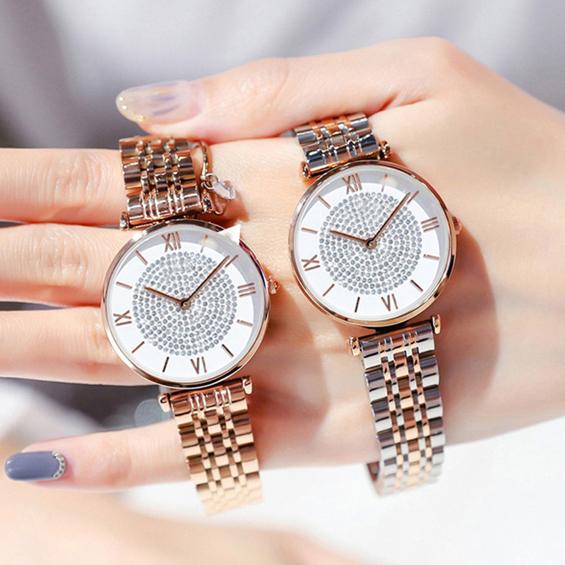 Luxury Crystal Women Bracelet Watches 2019 Top Brand Fashion Casual Quartz Full Steel Round Dial Waterproof Female Wristwatch(China)
