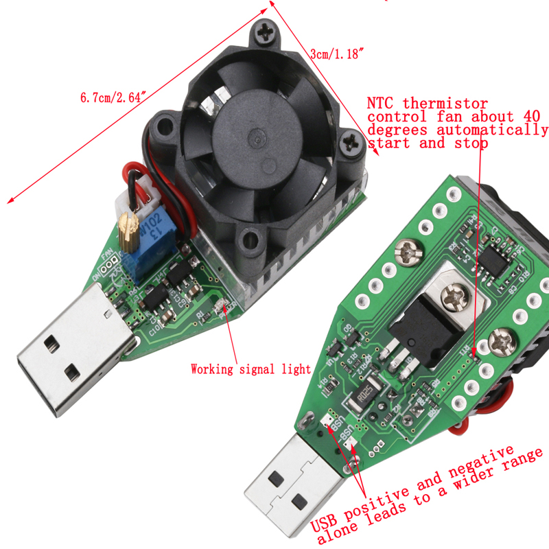 15 W 3.7-13V Industrial Electronic Carico Resistore USB scarica Tester batteria NUOVO
