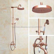 Античная красная медь смеситель для душа и ванной кран настенное крепление Ванна Душ смеситель с ручным душем Brg636
