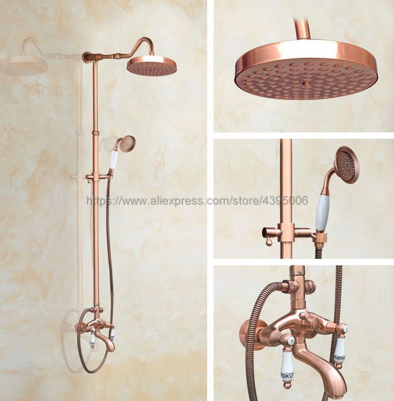 Antique Red Copper Shower Faucets Bathroom Shower Mixer Taps Wall Mount Tub Shower Faucet with Handshower Brg636