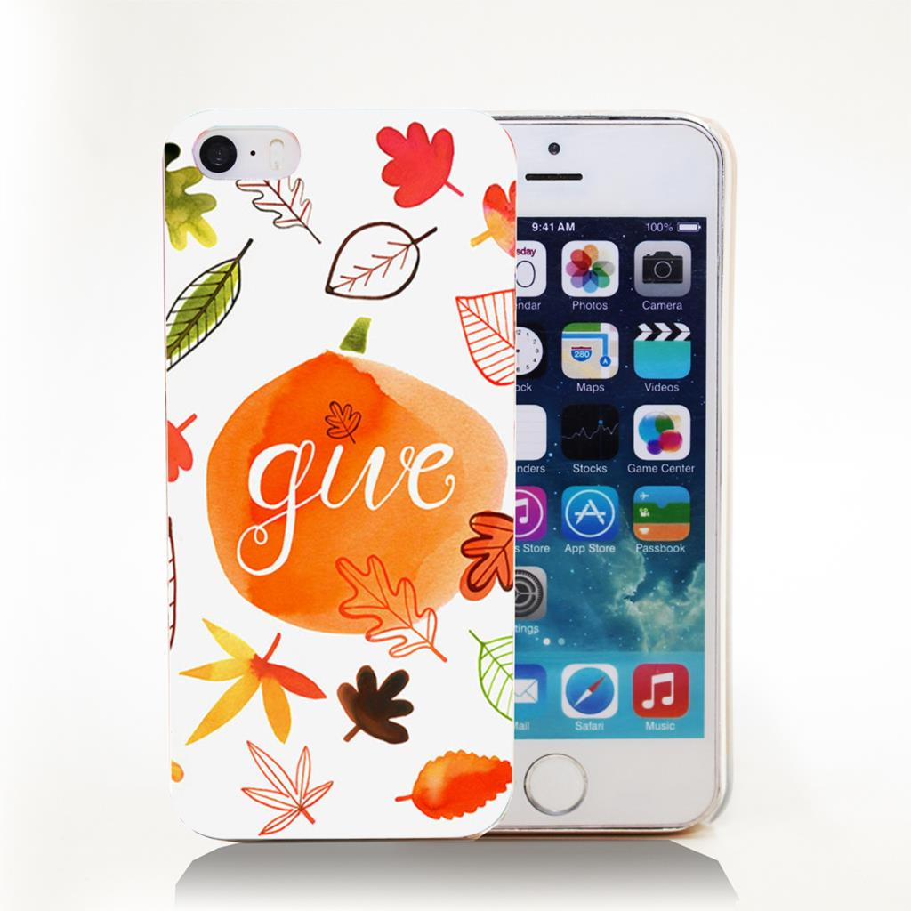 GIVE_THANKS_FALL_LEAVES Hard Transparent Cover Case for iPhone 4 4s 5 5s 5c 6 6s Phone Cases Protect