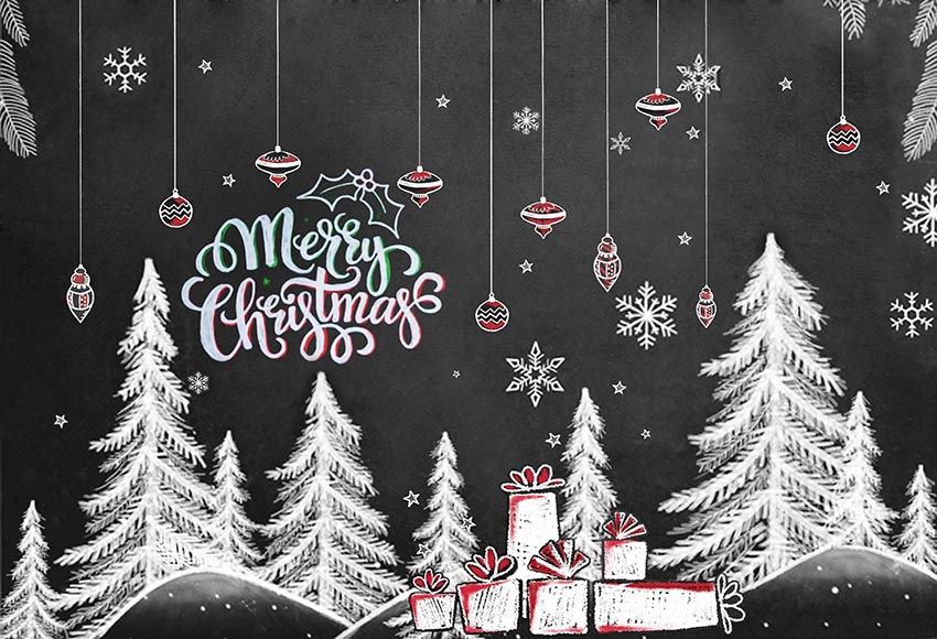 Merry Christmas Tree Gift Decorations Black background ...