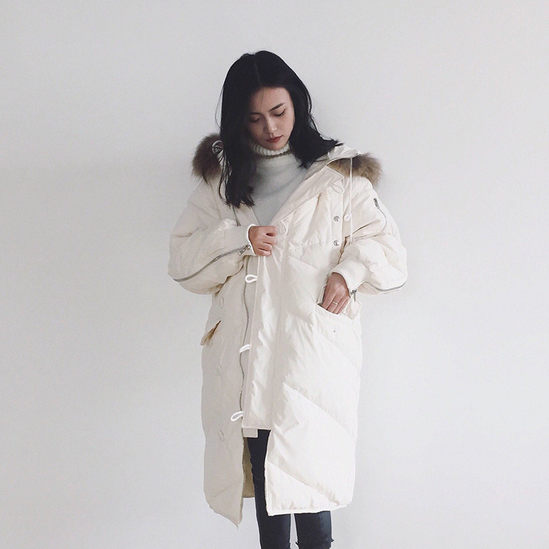 2017 Fashion Women Winter Down Jacket Korean Medium-long Loose Casual Zipper Outwear White Duck Down Female Parkas Wadded Coat ami рубашка из денима