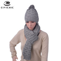 CIVICHIC Fashion Woman Crochet Winter Hat Scarf Set Korea Stylish Two Pieces Warmer Knit Cap Thicken