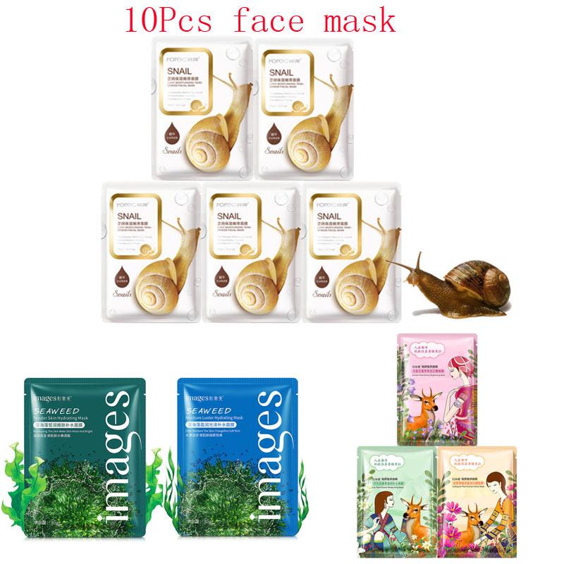 10 шт смешанные Улитка завод горечавки морских водорослей увлажняющая маска для лица Отбеливание сокращение пор Anti-Aging маски для лица корейс...