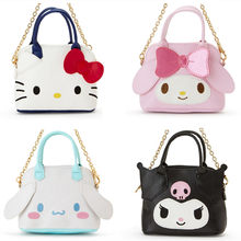 bce18ce5a Cute Hello Kitty My Melody Kuromi Small Tote Bag Handbag Cinnamoroll PU  Leather Coin Purse Wallet Girls Mini Sling Chain Bag