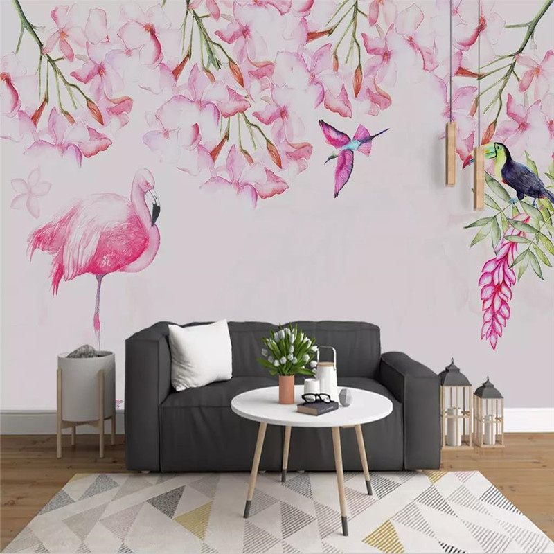 Simple hand painted flowers and birds background wall professional production murals wholesale wallpaper mural poster photo wall in Fabric Textile Wallcoverings from Home Improvement
