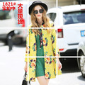 2016 Autumn Women Long Trench Coat Floral O-Neck Loose A Word Coats Design And Color 1821