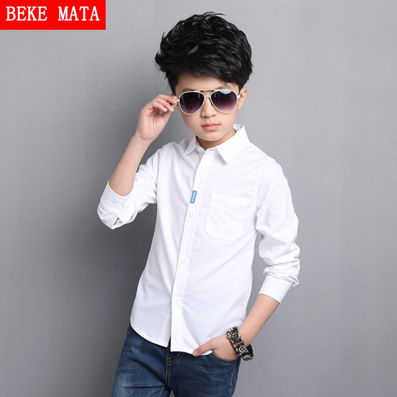 White Boy Shirts For Kids 2017 Spring Fashion Solid School Boys Shirts Long Sleeve Breathable Formal